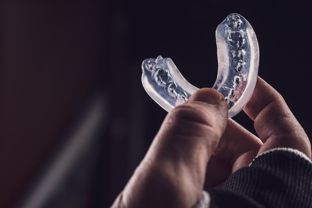 dental mouthguard on isolated background